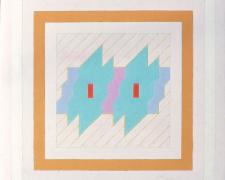 Double Diagonal #3, 1977, acrylic, graphite on canvas, 20 x 20""
