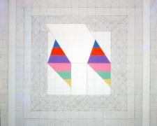 Prism #10, Small Double Osiris, 1974, acrylic, graphite on canvas, 20 x 20""