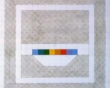 Prism #15, 1974, acrylic, graphite on canvas, 20 x 20""