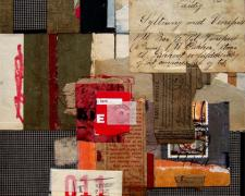 new cutting edges, 2007, mixed media collage ,13 x 9 1/2""