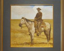 "Buckskin, 1973-1975, acrylic on masonite, i.s. 11 3/4 x 11 1/2""/f.s. 18 x 18"""