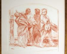 "Deposition (Study), 1980, red conte crayon on paper, i.s. 21 x 22 1/4""/f.s. 28 1/4 x 29 1/2 x 1 1/2"""