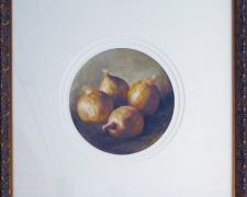 """Four Onions, 1992, acrylic on paper, i.s. 8"""" tondo/f.s. 19 1/2 x 19 1/2 x 2"""", (Secondary Market)"""