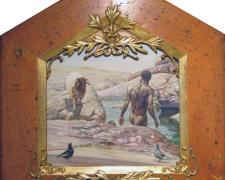 "St. John the Baptist Recognizing the Ram of Atonement, 1975, acrylic on masonite, i.s. 15 x 16""/f.s. 28 x 26"", (Secondary Market)"