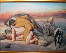 "Jacob Wrestling Angel, 1980, acrylic on board, i.s. 31 1/2 x 47 1/2""/f.s. 40 1/2 x 52"""