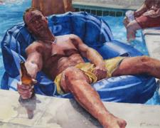 Untitled (men in the pool), 2010, watercolor, 11 x 8 3/4""