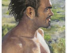 Untitled (man in profile), 2010, watercolor, 4 5/8 x 7 1/8""