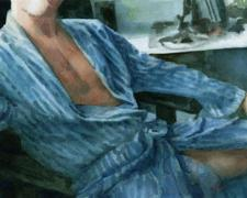 Untitled (man in robe), 2010, watercolor, 6 1/2 x 10 7/8""