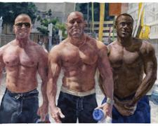 Untitled (three men on street), 2010, watercolor, 8 x 10 1/2""