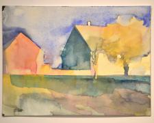 "141001 pannonia gable, 2014, watercolor, p.s. 9 x 12 1/8"" / f.s. 13 1/4 x 16 1/8"""