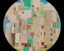 "Blue Moon, 2013, paper, acrylic, graphite on wood, 23"" diameter"