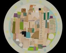 "Circa Spring, 2013, paper, acrylic, graphite on wood, 20"" diameter"