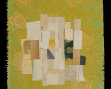 "New Voices, 2012, paper, acrylic, graphite on cut canvas, vintage frame, f.s. 16 x 14"" / i.s. 11 5/8 x 10 3/4"""
