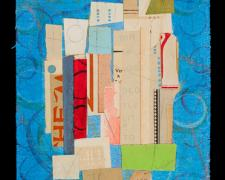 "Rite (Astral), 2012, paper, acrylic, graphite on cut canvas, vintage frame, f.s. 11 x 8 1/2"" / i.s. 8 x 5 5/8"""