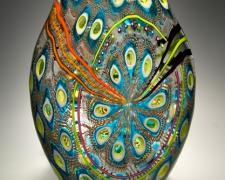 Foglio (Peacock), 2012, blown glass, cane, murine, 16 1/2 x 10 x 4""