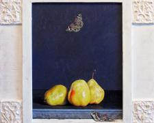 "Pears with Butterfly and Emerging Moth, 2011, acrylic on panel, f.s. 22 1/2 x 19"" / i.s. 14 1/2 x 11"""