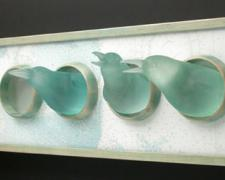 Insular, 2005, free hand, hot worked, hand sanded and polished glass, 10 1/2 x 32 1/2 x 9""