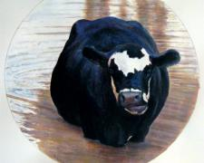 "A Pied Cow Eyes An Astonished Crowd At the Water's Far Edge, 2009, acrylic on paper, i.s. 7 1/4"" diameter"