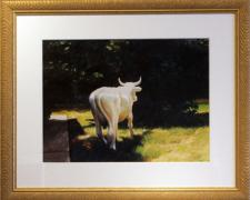 "I Awoke to a Plaster Cow on My Lawn, 2005, acrylic on paper, i.s. 18 1/2 x 24"" / f.s. 30 3/4 x 36 3/4"", (Secondary Market)"