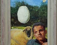 "Polyphemus Seen Auguring The Carapace of Heaven, 2016, acrylic on masonite, Kermit frame, 25 1/4 x 17"""