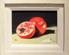 "Pomegranate, 2011, acrylic on panel, f.s. 9 1/2 x 11 1/2"" / i.s. 5 1/2 x 7 1/2"""