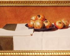 Pomegranates, 2004, acrylic on panel, 16 x 33""