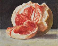 Pomelo, 2016, acrylic wash on paper, 4 x 4 3/4""
