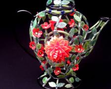 "Dahlia Teapot, 2011, lampwork, 9 x 8 x 6"""