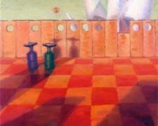 """Stroll 2007 Oil on wood 15 x 23 3/4"""""""