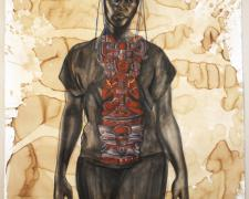 """First Contact 2013 conte, gold leaf, coffee stained paper f.s. 72 x 54""""/ i.s. 69 x 50"""""""