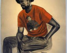"""And last night Frederick Douglas showed up, 2011, conte and charcoal on hand-dyed paper, f.s. 52 x 41"""" / i.s. 50 x 38"""""""