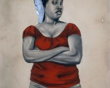 "Janus, 2011, conte and charcoal on hand-dyed paper, f.s. 52 x 41"" / i.s. 50 x 38"""