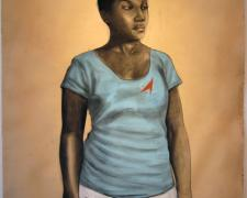 """Outta Sight, 2011, conte, charcoal and pastel on hand-dyed paper, f.s. 52 x 41"""" / i.s. 50 x 38"""""""