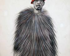 Stunning Like My Daddy, 2011, conte and charcoal on hand-dyed paper, 50 x 38""