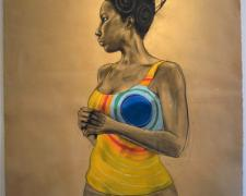 Sun God, 2011, conte, charcoal and pastel on hand-dyed paper, 50 x 38""
