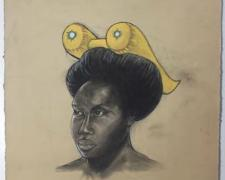 """Thither and Yon, 2011, conte and charcoal on hand-dyed paper, f.s. 23 1/2 x 19"""" / i.s. 19 x 15"""""""