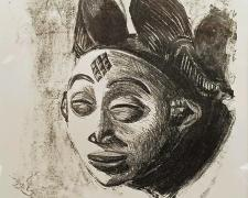 "Punu Mask, 2010, lithograph, AP, 14 x 10""/ f.s. 22 x 18"""