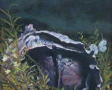 A Purple Cabbage Plumed in the Dark, 2008, acrylic on panel, 17 x 8 1/2""