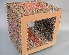 "Puzzle Box, 2014 mixed media, 4 1/2 x 14 1/2 x 13"""