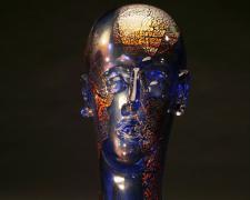 "Cobalt Bust with Metallic Leaf, 15 x 6 x 8"""