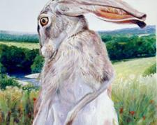 "Br'er Rabbit with Turtle Eyeing White Mexican Poppy, 2006, acrylic on paper, i.s. 15 3/8 x 9"" / f.s. 31 x 24 1/2"", (Secondary Market)"