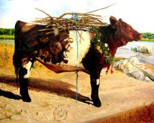 The Red Heifer, 2008, acrylic on panel, 39 1/2 x 51 1/2""