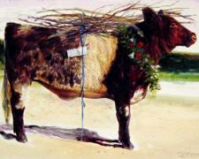 The Red Heifer - Study, 2008, pen and ink, acrylic wash on paper, 6 1/2 x 10 1/2""