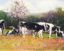 "Cows Near a Redbud Tree, 2009, acrylic on paper, i.s. 6 1/8 x 5 1/8"""