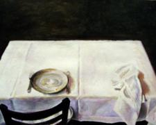 Repast, 2008, acrylic on paper, 4 3/4 x 6 7/8""
