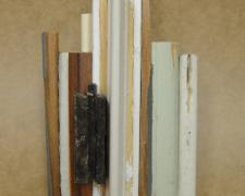 Restorative #1, 2015 reclaimed building materials, wood, brass, stainless steel 6 x 2 1/2 x 2""