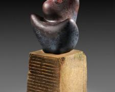 Ascend 2012 blown hot sculpted glass, limestone 16 x 6 x 6""