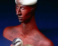 "Duck Hunter, 2005, blown and hot sculpted glass, steel, 13 1/2 x 5"""