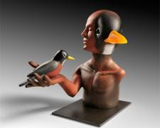 Transformation Robin #4, 2009, blown, hot sculpted glass, steel, 12 1/2 x 10 x 13""