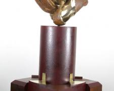 Rosa Caliente, 2010 mahogany, painted steel, cast silicon bronze, brass 19 x 10 x 10""